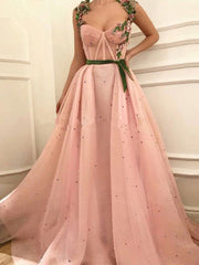 onlybridals Pink  Evening Dresses A-line Sweetheart Tulle Pearls Long Formal Evening Gown Prom Dress - onlybridals