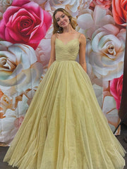 onlybridals Simple v neck tulle long prom dress champagne evening dress