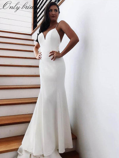 onlybridals Mermaid Wedding Dress 2020 Vestidos de novia Spaghetti Straps Soft Satin Sexy Bridal Gown Elegant Backless Wedding Gowns