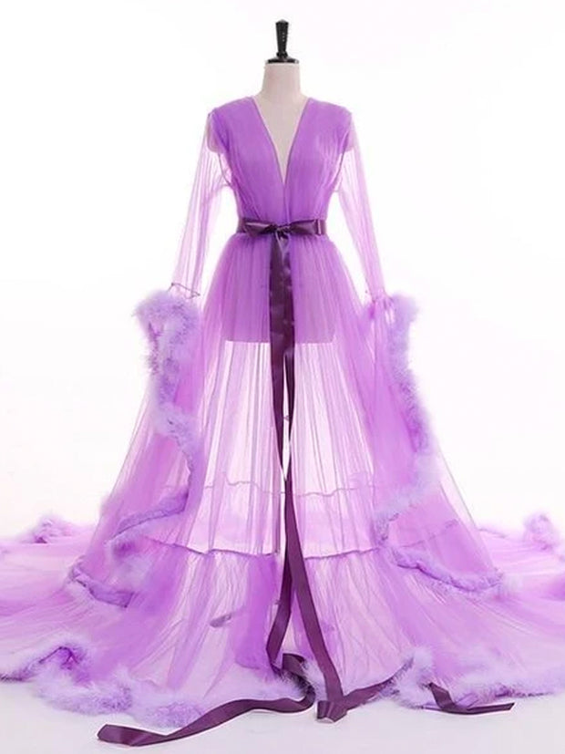 Luxury Birdal Tulle Robes With Hat Ruffled Long Summer Dress for Photoshoot Custom made Women Tulle Maternity Dressing Gowns