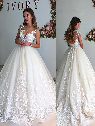 A-Line/Princess V-neck Court Train Tulle Sleeveless Wedding Dresses - onlybridals