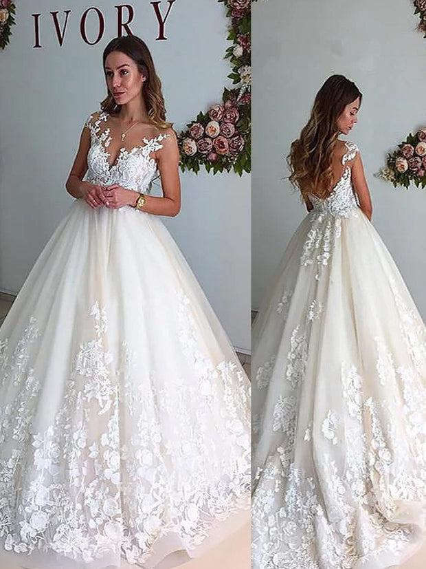 A-Line/Princess V-neck Court Train Tulle Sleeveless Wedding Dresses - The Only Love Wedding Dress