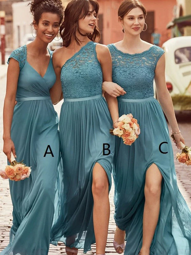 onlybridals Lace Floor-Length Sleeveless Bridesmaids Dresses - onlybridals