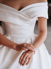 Off-the-shoulder Satin Ball Gown Wedding Dress with Beaded Appliques Train - onlybridals