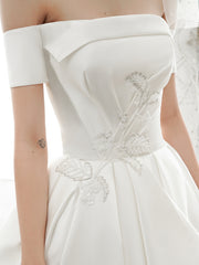onlybridals Ball Gown Floor-Length Jewel Corset-Back A-line Satin wedding Dress With Appliques