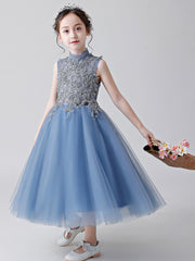 High Neck O-neck Sleeveless Ball Gown Tulle Long Kids Pageant Dresses Princess Ankle-length Flower Girl Dresses For Wedding