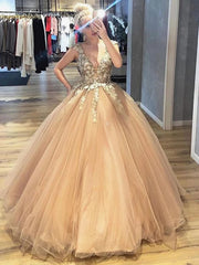 onlybridals V Neck Lace Champagne Prom Dresses, Lace Champagne Formal Dresses