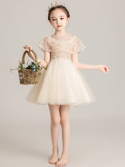 onlybridals Flower Girl Dresses Beading Sash Ball Gowns Lace Appliques Floor Length Flower Girls Princess - onlybridals