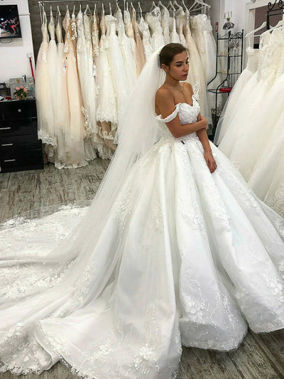 onlybridals Custom 2020 Lace White Wedding Dress Princess Ball Gown Appliques Wedding Dress