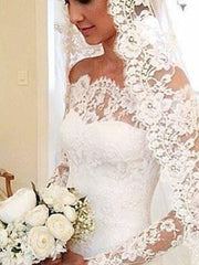 2020 Vintage Lace Mermaid Wedding Dress Long Sleeves Sexy Off The Shoulder Custom Made Sweep Train Bridal Gowns