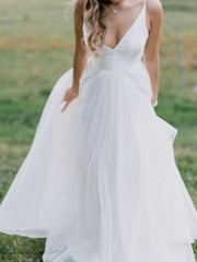 V-neckline Simple Boho Beach Wedding Dress Organza - onlybridals