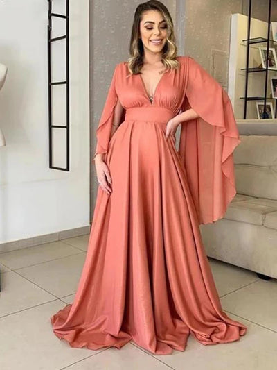 Chiffon Evening Dresses for Women Deep V Neck Backless Sweep Train A Line Plus Size Long Formal