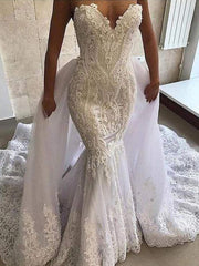 onlybridals Lace wedding dress with detachable train 2020 3d flower beaded luxury evening dress - onlybridals