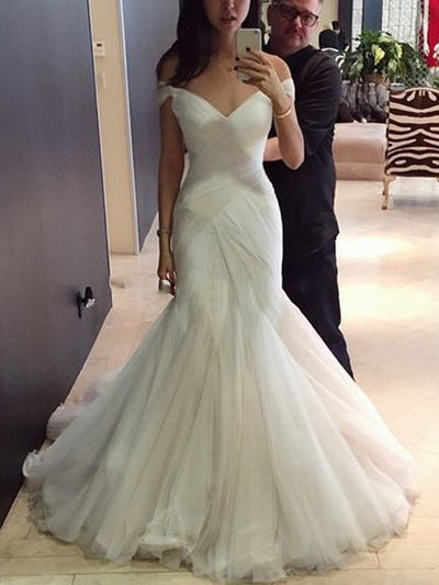 onlybridals Mermaid Wedding Dresses Simple Tulle Off Shoulder Sweep Train Bridal Wedding Gowns Corset Back Custom - onlybridals