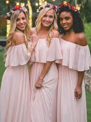 Light Blush Pink Chiffon Cheap Long Bridesmaid Dresses Online