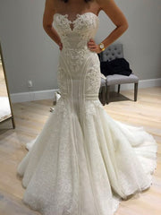 onlybridals Beading Mermaid Wedding Dresses Ivory Lace Bridal Gowns 2020 Dubai Arabic Cheap Wedding Gowns - onlybridals