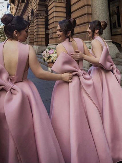 onlybridals Beauty Pink In Stock Bridesmaids Dresses Long Bow Wedding Party Dress Bridesmaids Dress - The Only Love Wedding Dress