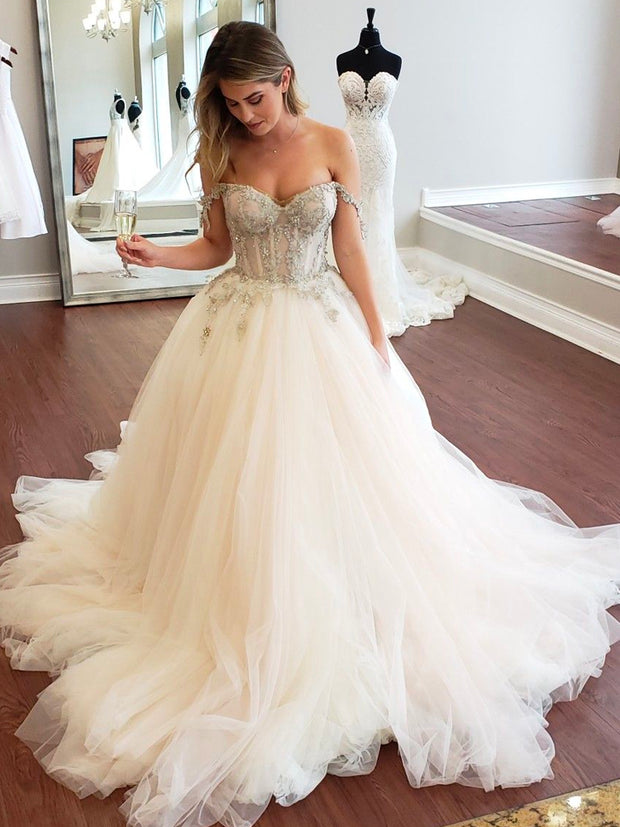 onlybridals flower A-line ball gown wedding dresses simple neckline off the shoulder wedding dress