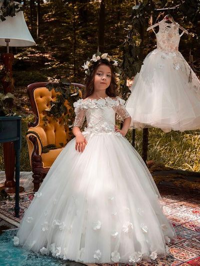 onlybridals Lace Flower Ball Gown Flower Girl Dress - onlybridals