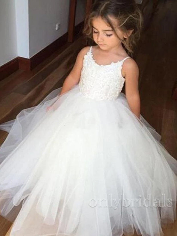 onlybridals  Spaghetti Lace Top White Tulle Hot Sale Flower Girl Dresses For Wedding Party