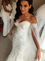 onlybridals Mermaid Wedding Dresses With Shawl Robe de mariee Applique Beading Pearls - onlybridals