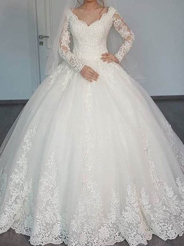 Appliques Muslim Wedding Dress with Long Sleeve - onlybridals