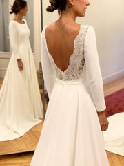 onlybridals  Long Sleeves V back Wedding Dress, Lace Boho Beach Wedding Dresses