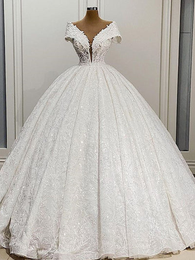 onlybridals 2021 new elegant lace bead ball gown wedding dress 2021 sexy deep V-neck wedding dress