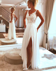 onlybridals Beach Wedding Dress 2019 Side Split Top Lace Boho Bride Dress Sexy Appliques Wedding Gown Custom Made - onlybridals