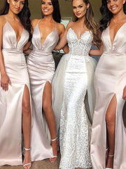onlybridals sexy Mermaid Bridesmaid Dress Deep V-neck Satin Wedding Party Dress - The Only Love Wedding Dress