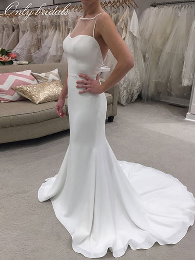 onlybridals Simple Mermaid Chiffon Wedding Dresses Scoop Neck Sleeveless Bridal Gowns Sweep Train Backless - onlybridals