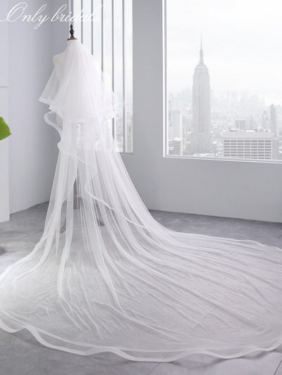 onlybridals Bridal Veil Ivory White Cathedral Wedding Veils With Comb Birde Accessories 3 M Long Two Layers 2 M - onlybridals