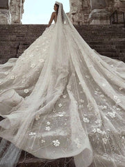 onlybridals Vestidos  2020 Arabic Luxury  Lace Wedding Dress Long Sleeve 3D Floral Wedding Bridal Gowns - onlybridals