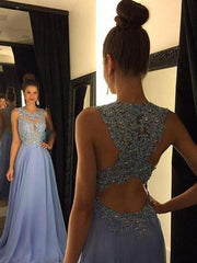 Only bridalsBeautiful Lace Appliques Sleeveless Prom Dress 2018 Long Chiffon Party Gowns - The Only Love Wedding Dress