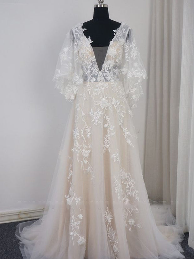 Stylish Long Sleeves V-Neck Tulle Wedding Dress A-Line Appliques Ruffles Bridal Gown Online