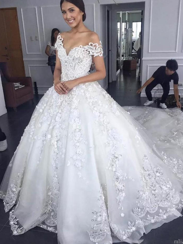 onlybridals Ball Gown Wedding Dresses Beaded Lace Appliques Tulle Off Shoulder Court Train
