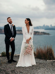 onlybridals Sexy Plunging V-Neck Boho Wedding Dress Long Sleeves - onlybridals