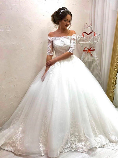 onlybridals Elegant Lace Wedding Dresses 2020 Half Sleeve Appliques Bridal Ball Gowns