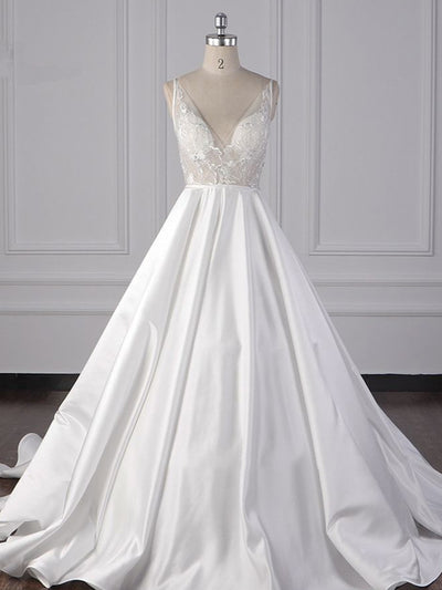 Elegant Satin V-Neck Wedding Dress Lace Appliques Sleeveless Bridal Gowns On Sale