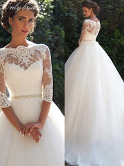 onlybridals Vintage Lace 2020 Wedding Dresses O Neckline Half Long Sleeves Pearls Tulle Princess A-Line Cheap
