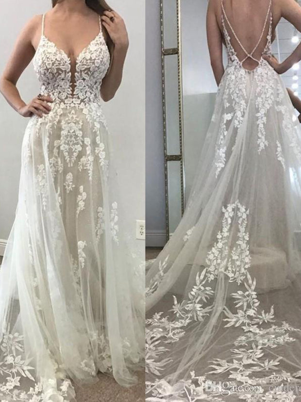onlybridals 2020 Sexy Beach A Line Wedding Dresses Illusion Tulle Backless 3D Lace  V Neck Boho Wedding Dress - onlybridals