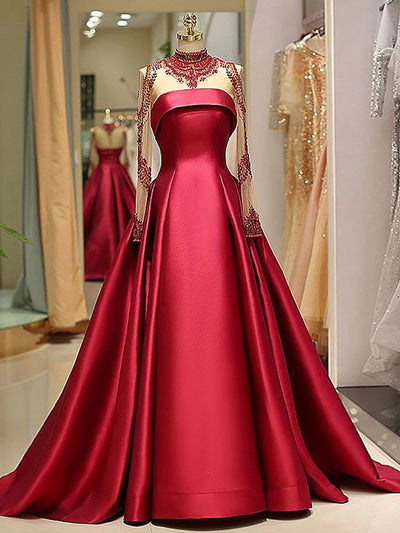 onlybridals Long Sleeve Prom Dresses High Neck Burgundy Long Prom Dress Satin Evening Dress