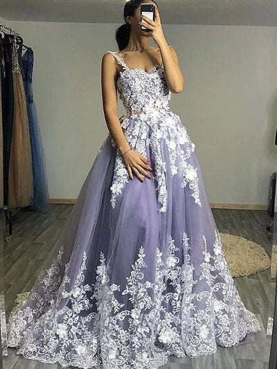 onlybridals White Floral Lace Top Gray Long Prom Dresses, Floral Lace Gray Formal Evening Dresses, Gray Ball Gown