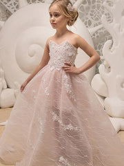 A-Line Sweetheart White Organza Flower Girl Dress