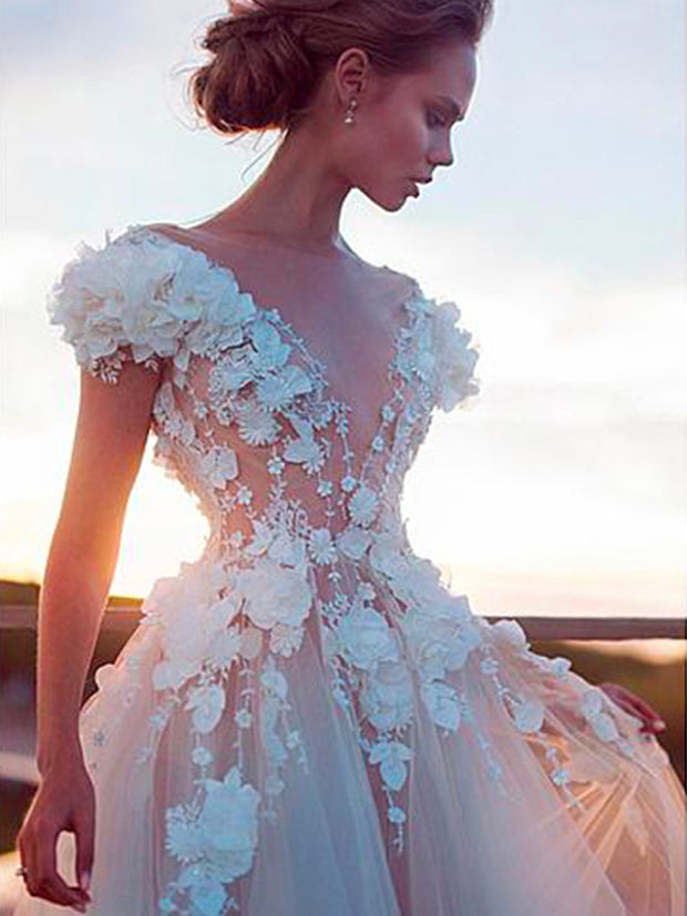 onlybridals A-line Wedding Dresses Sexy Backless Bridal Dress 3D Lace Flowers Fairy Beach - onlybridals