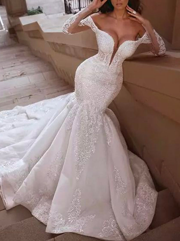 onlybridals White Wedding Dresses Sparkly Sequins Sweetheart Neckline Mermaid Long Sleeve Court Train Bridal Dresses - onlybridals