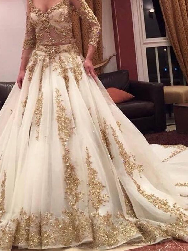 onlybridals  Two Pieces Indian Wedding Dresses White Gold Applique Deep V-Neck Long Sleeves Bridal Gowns Custom - onlybridals