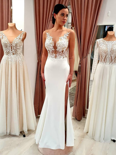 onlybridals lace boho side slit wedding gown simple bohemian wedding dress beach 3d flowers - onlybridals