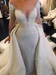 onlybridals Full Pearl Beaded Mermaid Wedding Dresses With Detachable Train Vintage Long Sleeves