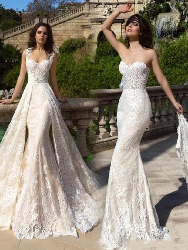 onlybridals 2020 vintage french fashion 2 in 1 wedding dress embroidered tulle detachable train wedding dress